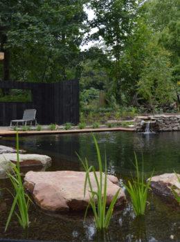 Zwemvijver met vlonder terras